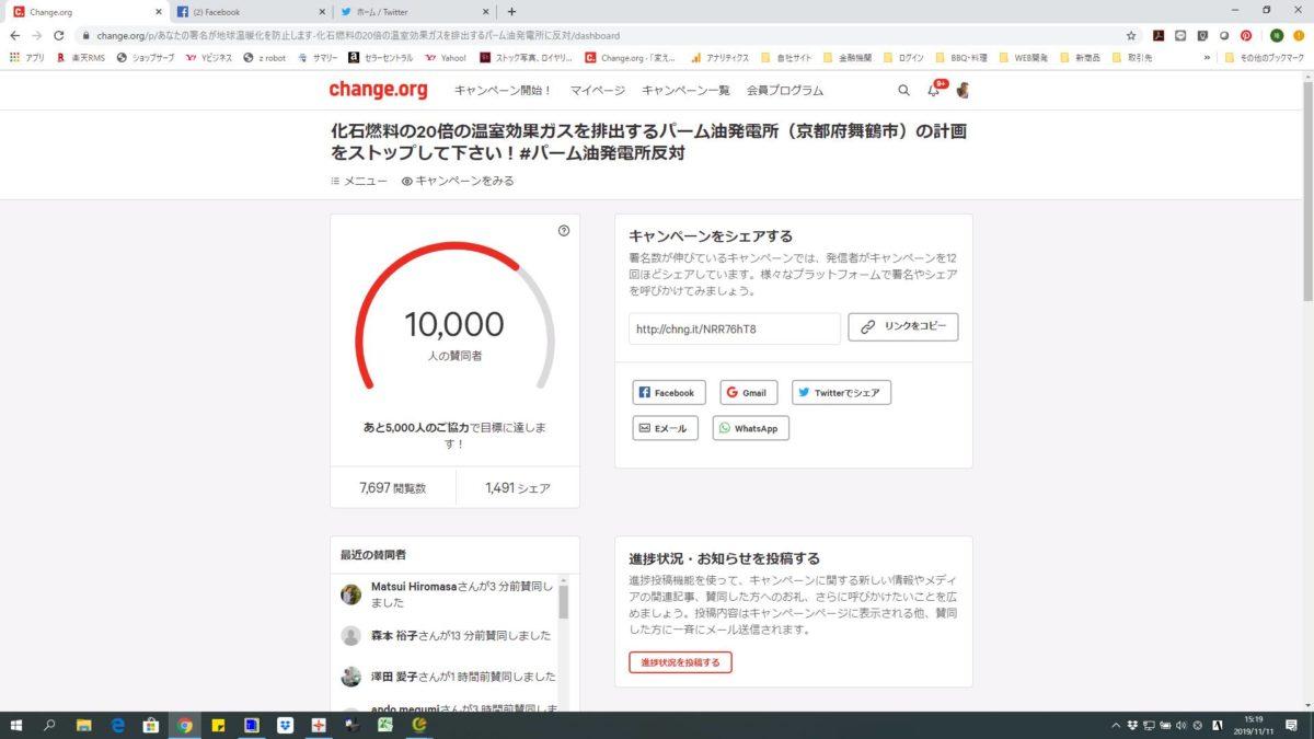 反対署名1万人達成~