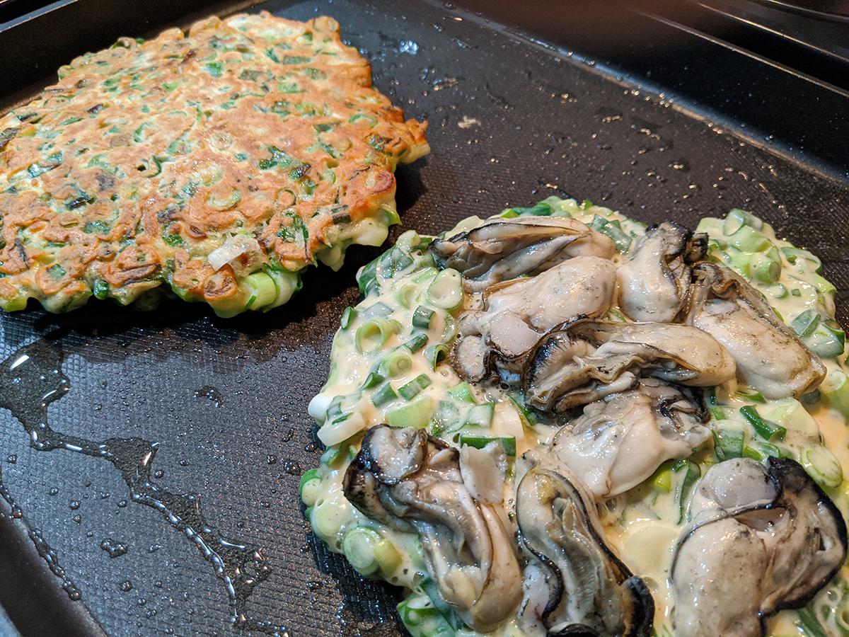 ネギ焼き(牡蠣と牛すじ)